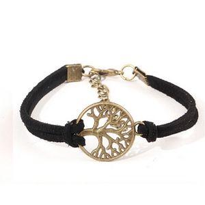 Jewelry - Boho Black Leather Tree of Life Charm Bracelet